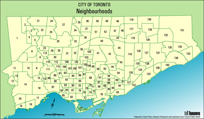 Toronto's 140 Neighbourhoods Mapped